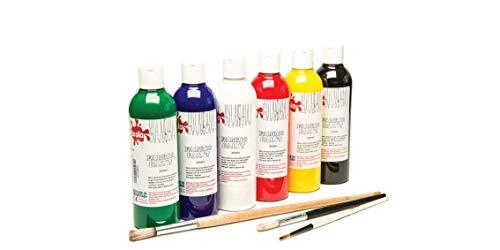 Scola FAB150/6/A - Tarros de pintura para ropa (6 x 150 ml) - Pinta tus propios diseños en tela de - Seis botellas de 150ml - Incluye blanco, amarillo, negro , verde , azul y rojo - Hierro en el reverso para hacer el diseño permanente - Apropiado par...