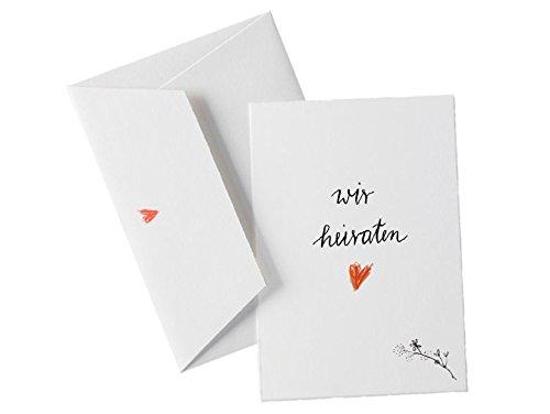 50x Hochzeitseinladungen im Kalligrafie Stil inkl. Druckservice - Wir heiraten - weiß mit individueller Rückseite Hochzeitseinladung Einladungskarten-Set Büttenpapier bedruckt