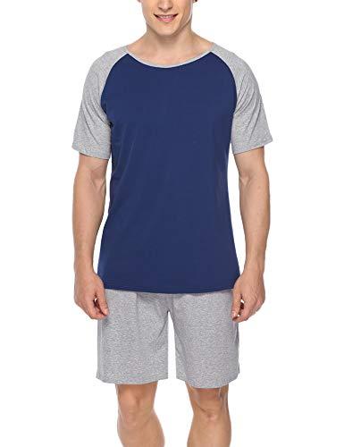 Hawiton Herren Schlafanzug Kurz Sommer Pyjama Nachtwäsche Set Kurzarm Shorty Baumwolle mit Kontrastfarbe Grau XL Kurze-set