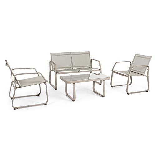 ARREDinITALY Ensemble Salon pour extérieur canapé + 2 fauteuils et Table Basse Taupe