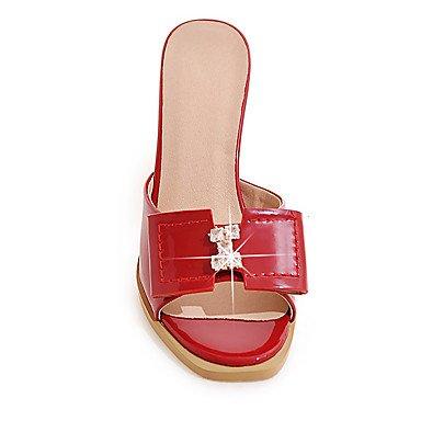 LvYuan Damen-Sandalen-Hochzeit Kleid Party & Festivität-Lackleder-Blockabsatz-Club-Schuhe-Schwarz Rot Weiß Grau Pfirsich gray