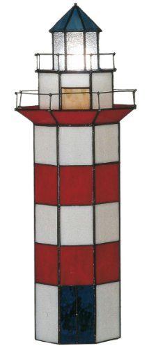 Lumilamp 5LL-1166 Tiffanny Stil Leuchtturm Tischlampe Burolampe Rot/Weiss/Blau 21 * 56 cm / 2X E14 max 25w dekoratives buntglas Tiffany Stil -