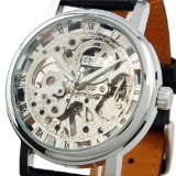 ESS Men's Fashion Skeleton Dial Leather ...