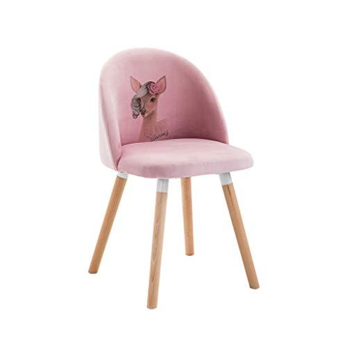 Zurück Stühle, Hocker (LWBUKK Schlafzimmer rosa niedlich zurück Hocker Wildleder Make-up Stuhl nach Hause Massivholz Schreibtisch Stuhl sitzen Höhe 45cm2 Farbe optional Stuhl (Color : B))