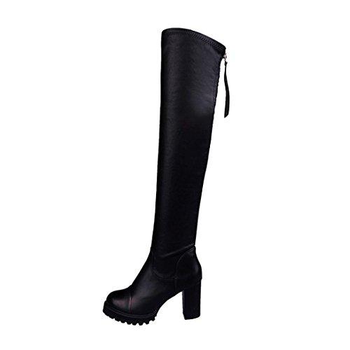 Damen High Heel Stiefel, Kaiki Winter Mode PU Leder über Knie Stiefel Frauen Zeh Elastische Stretch warme dicke Ferse Stiefel (38, Black) (Zip-knie-boot)