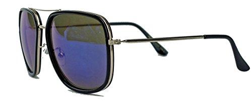 Blogger Fashion Sonnenbrille Square Aviator Pilotenbrille dicke Fassung TB3 (Schwarz / Blau verspiegelt)