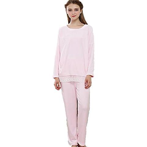 DMMSS Otoño e invierno de las mujeres de manga larga linda unidos pijamas Set gruesa ropa de noche caliente , l