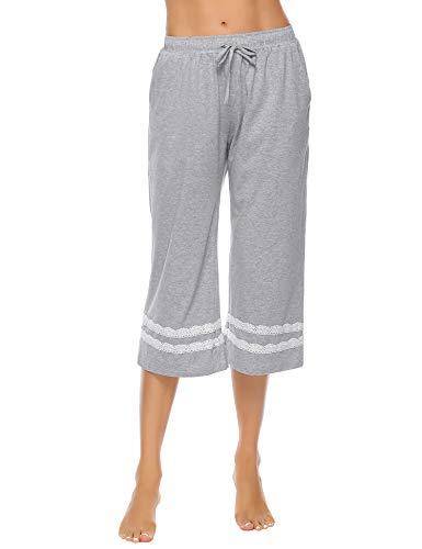 Hawiton Damen Schlafanzughosen Baumwolle Pyjama Bottoms Spitzenrand Weite Hose Loungewear Nachtwäsche Hosen für Frauen - Pyjama-hose Loungewear