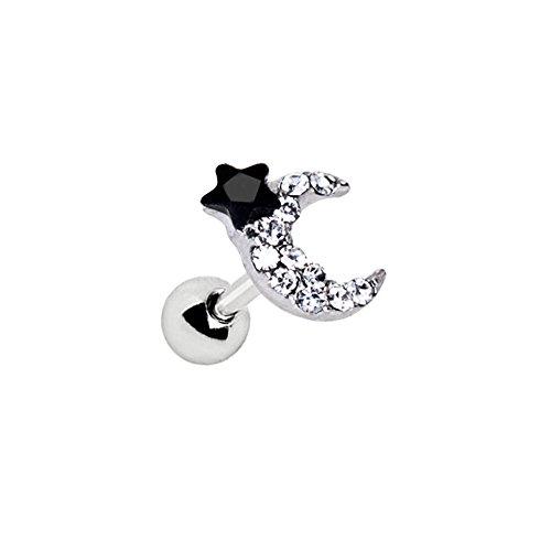 Schwarz und Clear Art von Brilliance Zum Mond 1,2mm x 6mm Chirurgenstahl Tragus Cartilage Ober Ear Ohrring (Kostüm Und Schwarz Clip Art Weiß)