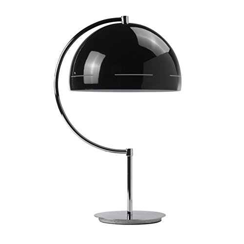 """'Lámpara de mesa, Retro de diseño """"Oslo, Negro, brillante, cromo pulido)"""