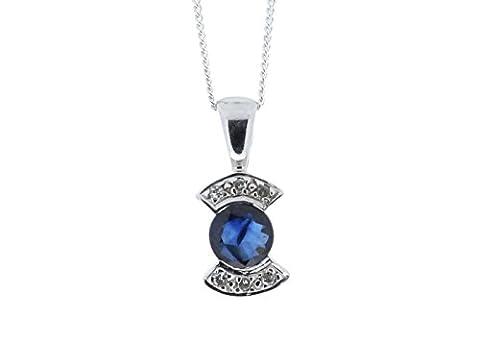 Precious Jewels UK–Diamant Saphir Anhänger 0,06ct G SI29ct Weiß Gold. Cert durch AGI. GRATIS Versand