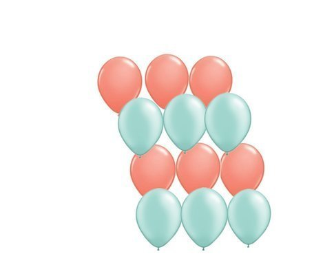 12ct Assorted Mint Green and Coral Latex Balloons by Party Supplies