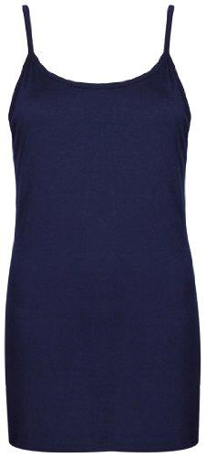 Femmes Neuf Sans Manche Uni Femme Extensible Rond Encolure Ronde Long à lanières T-Shirt Camisole Débardeur Bleu Marine
