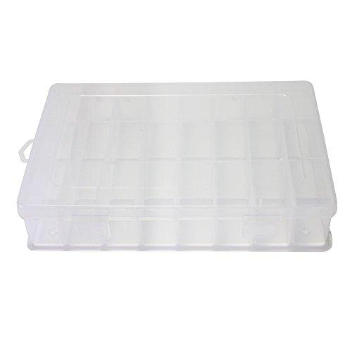 EQLEF® 24 scomparti Crafts trasparente di caso tool box orecchini perline contenitore di plastica Jewelry Organizer Visualizza