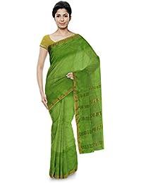 BASAK TANT HANDLOOM SAREE Women's Silk & Lenin Mix Saree (Green)