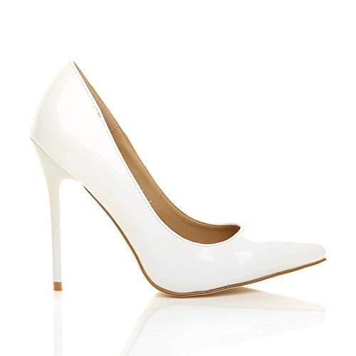 Donna tacco alto lavoro festa elegante scarpe de moda décolleté a punta  taglia Bianca vernice ...