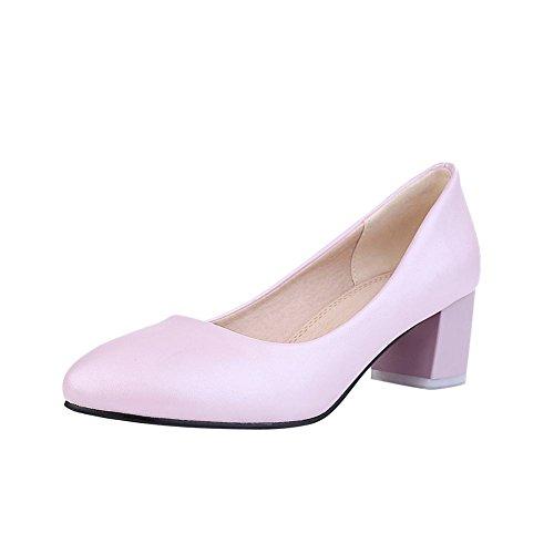 Mee Shoes Damen bequem runder toe chunky heels Geschlossen Pumps Pink
