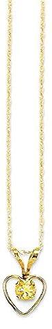 IceCarats 14k Yellow Gold 3mm Citrine Heart Birthstone Chain Necklace November Kid