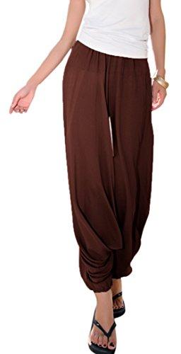 Aivtalk - Women Yoga Pantaloni Larghi Harem Low Drop Crotch Danza Fitness Workout Pants Donna Pantaloni da Allenamento di Lino Taglia Unica Marrone