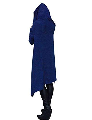 ISSHE Sweat a Capuche Femme Sweat Shirt Sweats à Capuche Pull Long Hoodies Sweatshirt Oversize Sweat-Shirt Shirt Femme Manches Longues Pull Over Large Ample Chemisiers Beau Joli Bleu