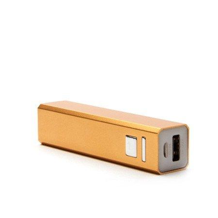 Metall PowerBank by aricona - 2600 mAh in gold USB Power Bank, externer universal Zusatzakku in Mini Format, tragbares ultra kompaktes Design für Handys, Smartphones, Tablets & weitere mobile Geräte