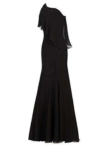 Dresstells Robe de cérémonie Robe de demoiselle d'honneur épaule asymétrique longueur ras du sol Orange