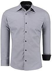 Idea Regalo - JEEL Uomo Camicia Casual Maniche Lunghe contrasto Slim Fit tg S M L XL XXL, Grigio XL