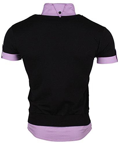 ... Tazzio Herren T-Shirt Hemd Longshirt T-Shirt Polohemd Schwarz-Lila ...
