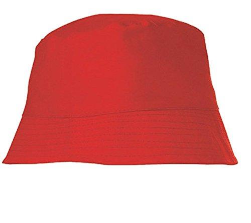 Textildruck Plauen Sonnenhut Fischerhut Hut Malerhut Anglerhut Deckel Mütze Baumwolle Fussball viele Farben (Red)
