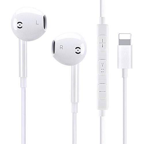 Airylve Kopfhörer, In Ear Stereo Kopfhörer mit mikrofon und Lautstärkeregelung Bass Kopfhörer Kompatibel für iPhone 7/7 Plus/8/8 Plus/X/XS/XS Max (Weiß) -