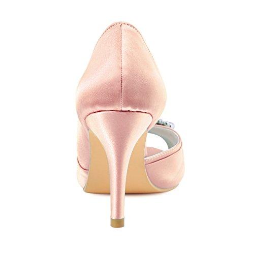 ouvert Bloc HP1710 Chaussures Boucle Bout soiree Blush mariee Diamant Satin ElegantPark de Escarpins qUwYxII