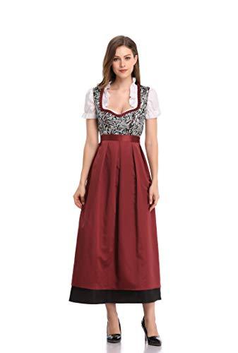 KOJOOIN Trachten Damen Dirndl Kurz/Lang - Midi Trachtenkleid für Oktoberfest - DREI Teilig: Kleid, Bluse, Schürze Braun 44/XL