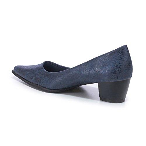 La Modeuse - Escarpins bout pointu et talon carré Bleu
