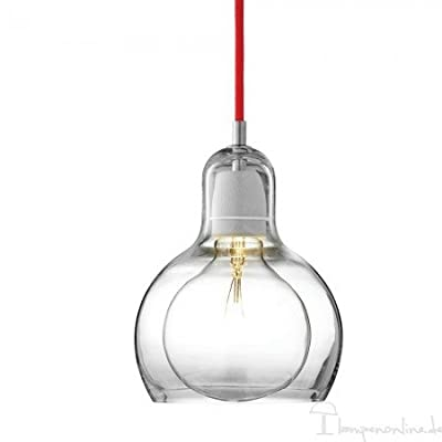 Tradition - Mega Bulb Sr2 - Stoffkabel Rot - Glas Transparent von &Tradition