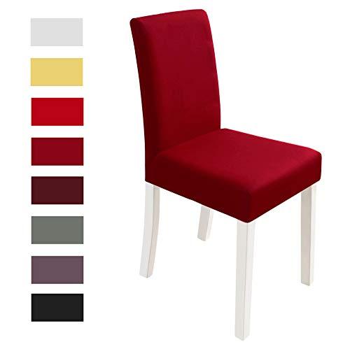 Yokamira coprisedie 6 pezzi elasticizzato copertura della sedia con schienale, lavabile elastica coprisedia sala da pranzo per una misura universale, rosso - 2