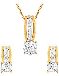 TBZ - The Original 18KT Yellow Gold and Diamond Jewellery Set for Women