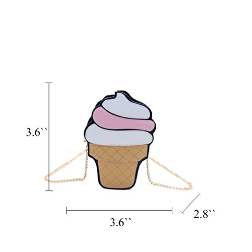 Honeymall Summer torta gelato in pelle sintetica motivo Borsa a tracolla donna bianco Cupcake small Telato