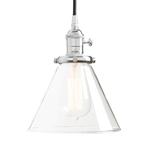 Permo einflammig Mini Klar Glas Deckenleuchte Trichter Anhänger Vintage Zum Aufhängen-, mit Nostalgic Edison-Glühbirne Antik Chrome -