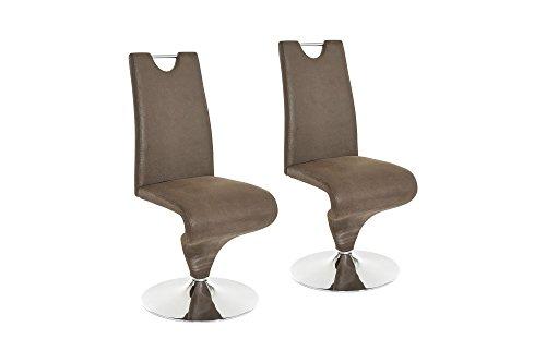 HOMEXPERTS,  Schwingstuhl TRACY, Schwinger 2er Set, Esszimmerstuhl in modernem Design mit Bezug in Kunstleder dunkelbraun, Untergestell ist ein verchromter Tellerfuß, B 49, H 102, T 53,5 cm - Designer Leder Stühle