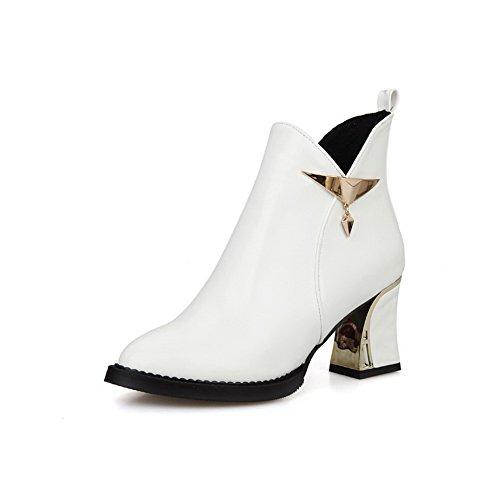 AgooLar Damen Mittler Absatz Niedrig-Spitze Rein Reißverschluss Stiefel, Weiß, 37