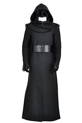 Star Wars 7: Der Force weckt Kylo REN Erwachsene Anzug Jacke Schwarz Fell Motiv Jedi Cosplay Kostüme für Halloween Party (keine Maske) Gr. Männlich XL, As photos