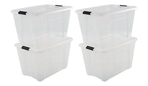 IRIS OHYAMA,4er-Set stapelbare Aufbewahrungsboxen / Kisten / Stapelboxen,mit Klickverschluss, Plastik, transparenter Deckel, 60 L,  (LxBxH): 58 x 39,5 x 36,5 cm (Iris Rollen)