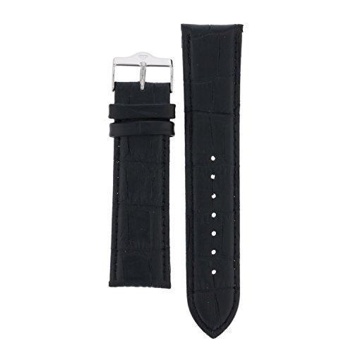 Yves Camani Nautilus 21 mm Uhren-Armband Schwarz Leder Edelstahl-Dornschließe Neu AB_049