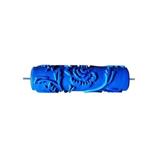 Importiert 17,8cm geprägt Pfingstrose Muster streichen Roller Pinsel Wand Decor DIY Werkzeug Blau - Blaue Wand Pinsel