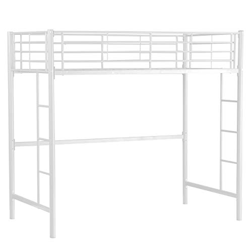 CASART 3FT High Bed with Twin Ladders and Safety Guardrail, High Sleeper & Household Space Saver, Metal Bunk Bed Loft Frame for Boys Girls Teens Kids Bedroom Dorm (White)