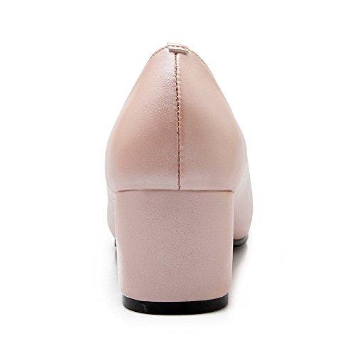 VogueZone009 Damen Rein Ziehen Auf Blend-Materialien Rund Zehe Pumps Schuhe Pink
