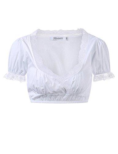 KOJOOIN Trachten Damen Dirndlbluse - Kurzarm/Halbarm Bluse für Oktoberfest 100% Baumwolle - (Kurzarm + Spitze) M