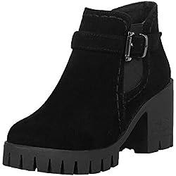 Botas de tacón Alto Plataforma para Mujer QinMM Zapatillas Botines Zapatos de otoño Invierno Fiesta, Negro, EU37.5 (CN37)