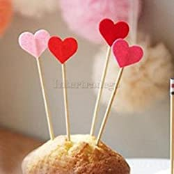 Set 50pcs Heart Pattern Picks Felt Toothpick Snack Cupcake Cocktail Decor