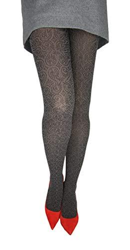 Marilyn gemusterte blickdichte Strumpfhose mit Spitze, 40 Denier, Größe 40/42 (M/L), Farbe Grau (antracit & black)